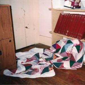 Blanket hiding in a corner on the floor