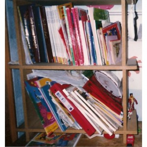 Small bookcase filled with picture books