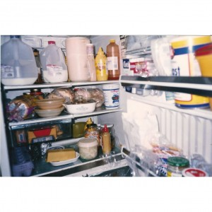 Open refrigerator showing food