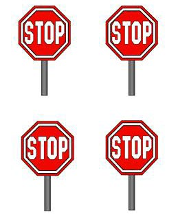 four stop signs