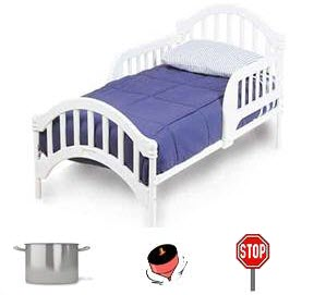 bed with pot, top, and stop sign at the bottom