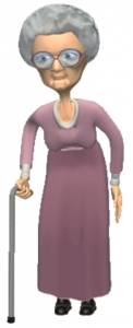 old woman with a cane