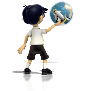 A boy holds a toy space shuttle up in front of the earth dreaming of being an astronaut in this clipart.
