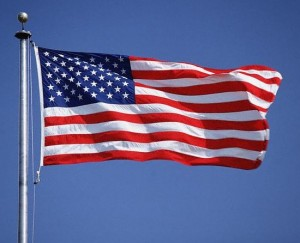 US flag waving in the breeze