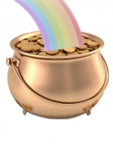 Large Pot of Gold with a Rainbow