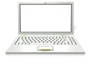 white lap-top computer with screen up