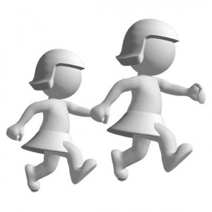two 3-D girls walking hand in hand