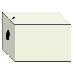 cardboard box with holes in one side and the top